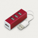 Aluminium 4 Port USB Hub+Red