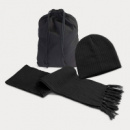 Nebraska Scarf and Beanie Set+Black
