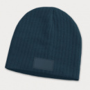 Nebraska Cable Knit Beanie with Patch+Navy