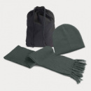 Nebraska Scarf and Beanie Set+Dark Grey