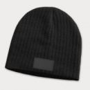 Nebraska Cable Knit Beanie with Patch+Black